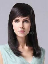 100% Real hair! New Fashion women's Long Black Straight Human Hair Wigs