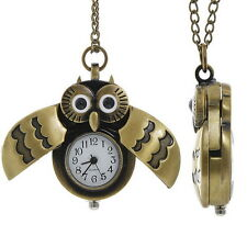 "Owl Necklace Watch Fall Gift Brass 30"" Chain  IN GIFT BOX"