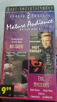 NEW EVIL MYSTERIES & HOT SWEAT VHS RARE OOP Erotic Thriller Rutger Hauer 2 tapes