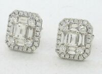 18K WG 2.60CTW VS/F diamond cluster earrings w/ 2 X .40CT Emerald cut centers