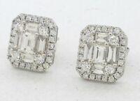 18K WG 2.60CTW VS/F diamond cluster earrings w/ 2 X .40CT Emerald cut centers