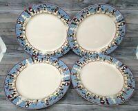 """SNOWMEN SERENADE II Dinner Plates set of 4 10.25"""""""