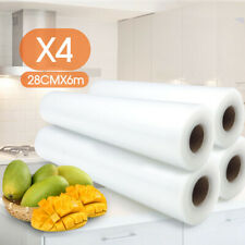 4x Vacuum Food Sealer Roll Bags 6m x 28cm Saver Seal Storage Heat Commercial