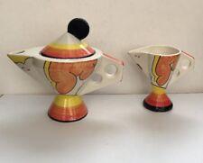 Clouds Hand Painted Decorative Teapot & Milk Jug - Staffs England D. Norman