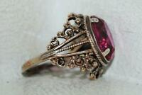 Vintage Soviet Russian Woman's Gilt Sterling Silver 875 Ring Jewelry Size 8.5