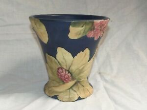 """RARE SIGNED WELLER POTTERY FLEMISH BLUE RHODODENDRON FLARED VASE 7""""H BY 6 3/4""""W"""
