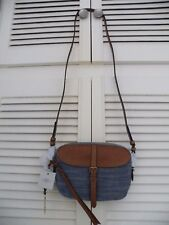 """FOSSIL"" Kendall Cross Body Bag - Denim/Tan, Saddle Brown - BNWT"