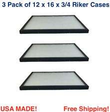 3 Pack of Riker Display Cases 12 x 16 x 3/4 for Collectibles Jewelry & More