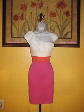 NWT bebe 2b One Shoulder Ruffle Trim Dress Size M