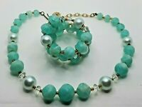Vintage 1950's-60's Light Pastel Green & Faux Pearl Wrap Bracelet & Necklace