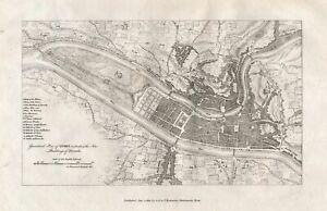 Lyons Plan Rhone Auvergne France map Karte carte gravure engraving 1800