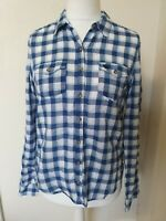 Abercrombie And Fitch Linen Mix Checked Blouse Top Size L