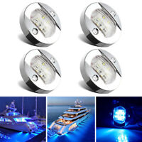 4X Round Marine Boat LED Courtesy Lights Cabin Deck Stern Navigatioin Light Blue