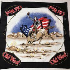 Vintage Rodeo Bandana Cowboy Riding Horse Bronco Hankerchief Western Ranch Farm