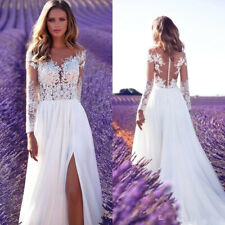 Ivory White Wedding Bridal Dresses Lace Top Side Split Long Sleeve Chiffon Gowns