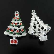 10pcs New Christmas Tree  Enamel Charm Pendant Jewelry 38896