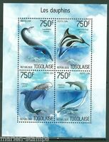 TOGO  2014 DOLPHINS SHEET  MINT NH
