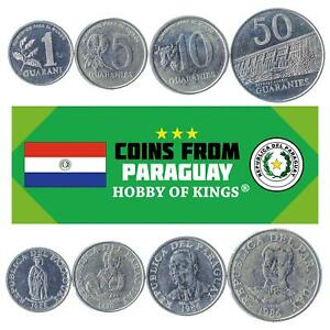 4 COINS FROM PARAGUAY. OLD FOREIGN CURRENCY: 1, 5, 10, 50 GUARANIES 1978-1988
