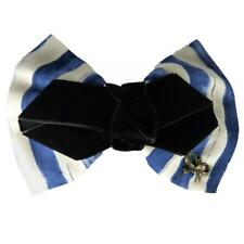 Barrette Pince à Cheveux rayures thème marin pin up rétro blanche bleu noeud
