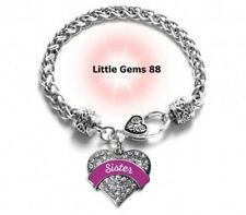 SILVER MAGENTA SISTER PAVE HEART CHARM BRACELET 7.5 INCHES CLEAR ZIRCONIA STONES