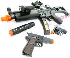 2x Toy Guns Military HUGE Elec. MP5  w/ Silencer & Black Pistol 9MM Toy Gun Set