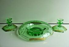 3 Pcs. Green Vaseline Elegant Depression Glass Console Bowl with Candle Sticks