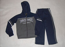 Boys Sweatsuit HOODIE JACKET Pants NAVY BLUE Gray Accents 4 TOUCHDOWN FOOTBALL