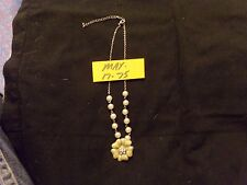 Silver Tone Chain, Faux Pearl Necklace With Yellow Enamel Flower Crystal Center