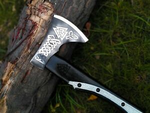 Custom Hand Forged Carbon Steel Viking Axe With Rose Wood Handle