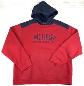 Vintage Chaps Ralph Lauren Pullover Hoodie Embroidered Spell Out Sz Large Red