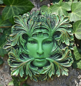 Primavera GreenMan Wall Plaque 12cm Leaf DAVID LAWRENCE GARDEN TREEMAN UK SELLER