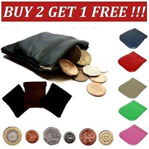 Coin money bag purse wallet pouch soft leather metal SPRING closure men ladies S
