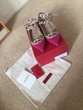 Designer Authentic Valentino Rockstud Ballerina Pumps Pink Leather Size 38 UK 5