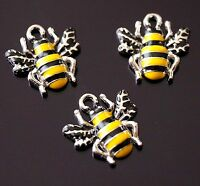 10 Silver Yellow Black Enamel Bumble Bee Charm Pendant 17mm (TSC128)