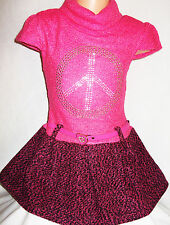 GIRLS BRIGHT PINK GLITTERY GOLD PEACE LOGO SOFT KNIT WOOLLY CONTRAST DRESS