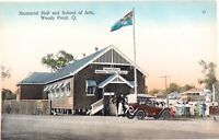 .RARE EARLY 1900s WOODY POINT QLD MEMORIAL HALL & SCHOOL OF ARTS RETRAC POSTCARD
