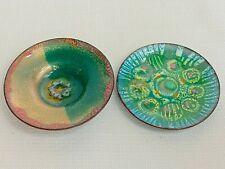 Lot Of 2 Doris Hall Signed Enamel On Copper MCM Enamel Art Bowl/Plate/Dish