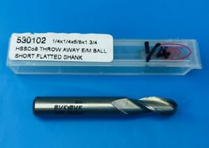 """1/4"""" HSS-Co8 Europa 3 Flute Throw Away Ball Nose End Mill with Flatted Shank"""