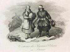 Polish Peasants in Lithuania - Original 19th Century Engraving - ca.1835 Rare