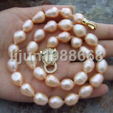 """On Sale 17"""" 10x12mm pink Rice freshwater Cultured Pearl Necklace leopard clasp"""