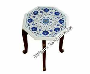 Marble White Coffee Custom Table With Wooden Stand Lapis Inlaid Marquetry Design