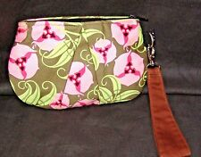Lill Studio Clutch/Wristlet Pink Brown Green Flower USA-made
