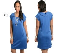 D12 Womens Blue Work Office Evening Casual Slim Party Plus Size Maternity Dress