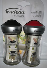 Pop-up Lid Glass Red & Black Salt & Pepper Shakers by Trudeau