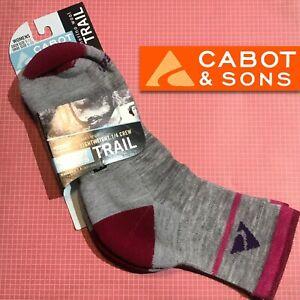Cabot And Sons Lightweight 1/4 Crew Merino Wool Trail Sock SZ Women's 9-11