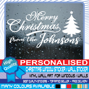 Personalised Christmas Window Stickers Wall decal Merry XMAS Home Shop Decor #01