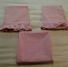 WAMSUTTA Gingham Check Red Double Flat Bed Sheets & Pillowcases Ruffle 3 Pc set