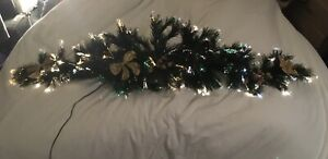 4.5 Ft Fibre Optic Christmas Garland + Mantle Swag With Additional Decorations