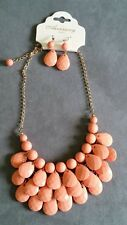 Peach statement necklace and earring set