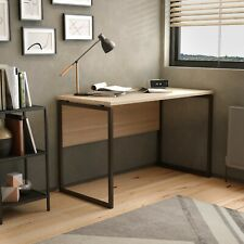 Home Working Desk with Square Leg and Modesty - Maple / Dark Brown